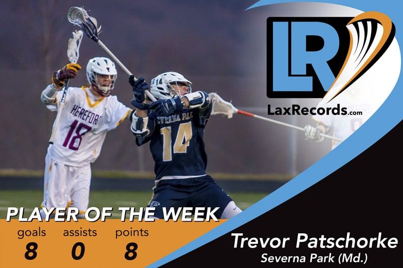 Trevor-Patschorke earns LaxRecords.com Player of the Week for April 17.