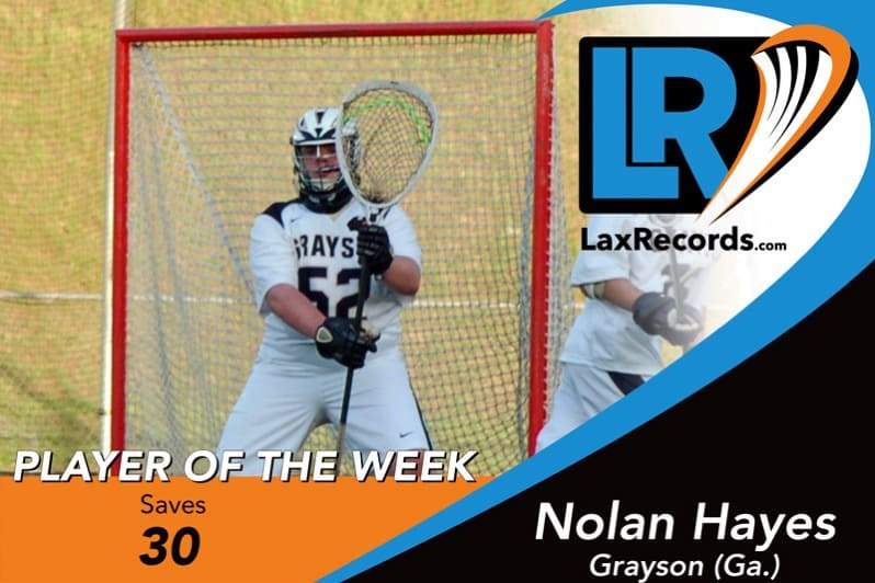 Nolan Hayes from Grayson (Ga.) earns LaxRecords.com Player of the Week for Feb. 26.