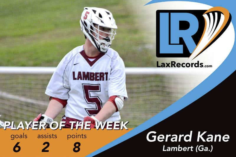 Gerad Kane from Lambert (Ga.) earns LaxRecords.com's Player of the Week for March 19, 2018. Photo by Casey Vock