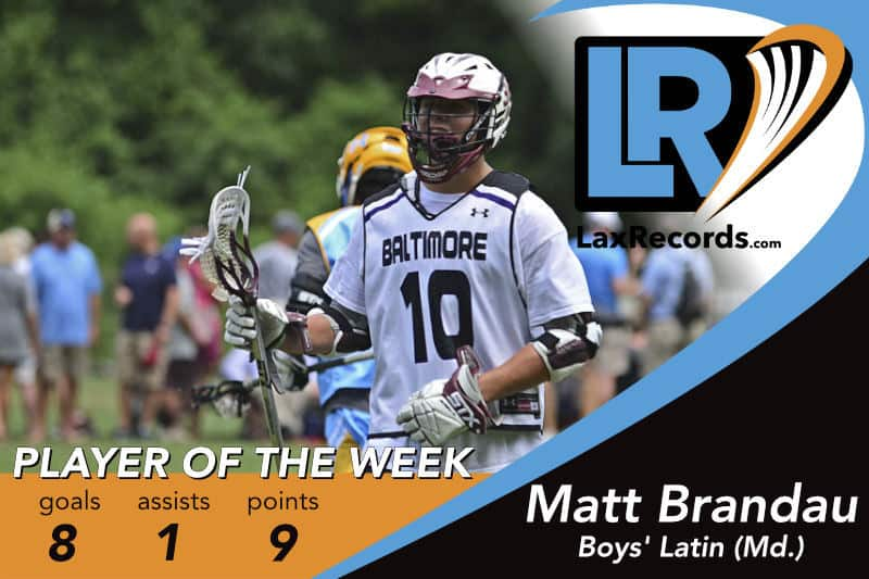 Matt Brandau from Boys' Latin (Md.) earns the LaxRecords.com Player of the Week for March 12, 2018 after helping the Lakers' to a 2-0 start