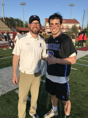 Nicky Solmon celebrates his 600th career point with Centennial (Ga.) head coach Bryan Wallace.
