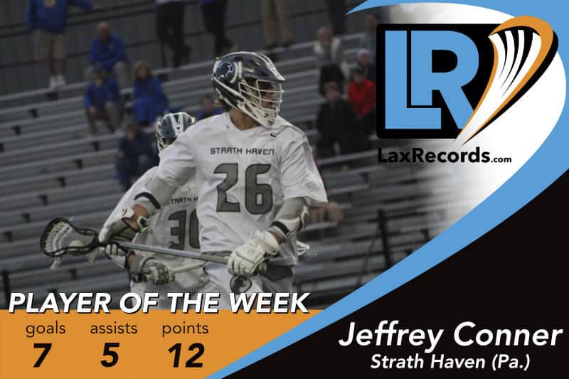 Jeffrey Conner from Strath Haven (Pa.) earns LaxRecords.com's Player of the Week for June 4, 2018. Photo by Matt Chandik.