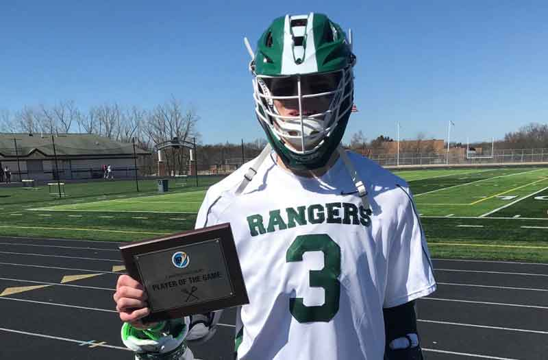 Tate Hallock from Forest Hills Central (Mich.) earned LaxRecords.com's Player of the Game. Photo by Michael Ward