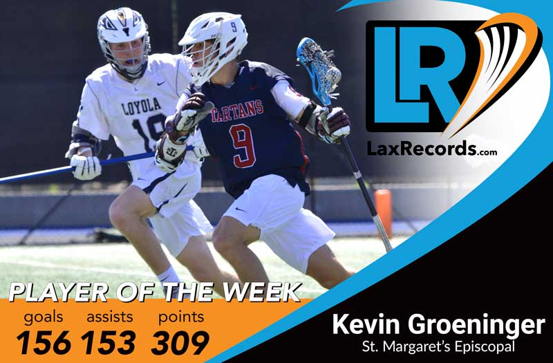 Kevin Groeninger earns LaxRecords.com's Player of the Week for March 12, 2019.