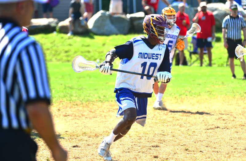 Najee Taylor from Loyola Academy (Ill.) at the 2018 Under Armour underclassmen games. Photo by Mike Loveday