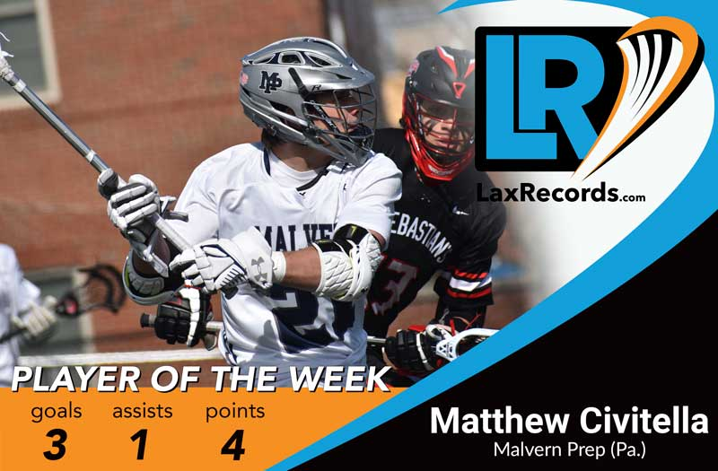 Matthew Civitella from Malvern Prep (Pa.) earns LaxRecords.com's Player of the Week. Photo by Matt Chandik